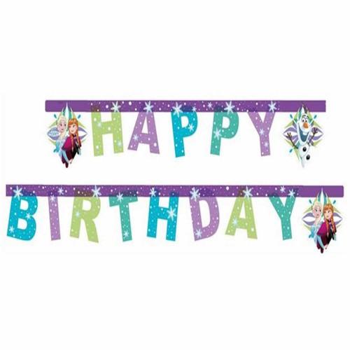 Elsa Anna Frozen Karlar Ülkesi Happy Birthday Yazı Süs