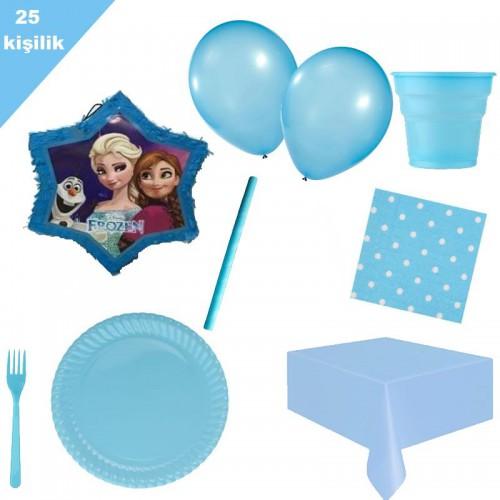Elsa Pinyata ve 25 kişilik mavi parti malzemeleri doğum günü seti
