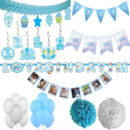Erkek Mavi 1 Yaş Doğum Günü Süs Seti Parti Malzemeleri