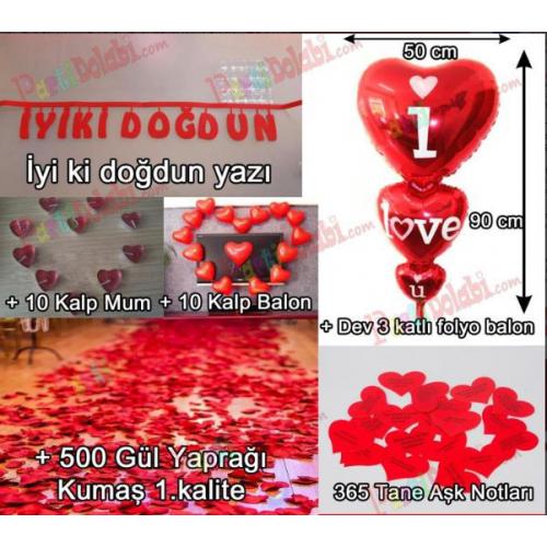 Evde kalp balon,mum gül yapraklı doğum günü süsleme paketi 7 parça