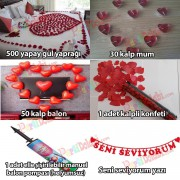 Evlilik Teklifi 500 Gül Yaprağı+ 30 kalp mum+ 50 balon+ 1 konfeti+ 1 Pompa + Yazı Seni Seviyorum