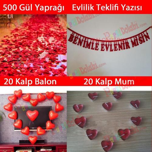 Evlilik Teklifi 500 Gül yaprağı Kalp Balon + Mum + Evlenme Yazı