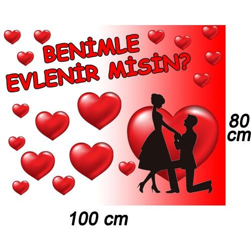Evlilik Teklifi Afiş Benimle Evlenir misin Pankart Poster Branda