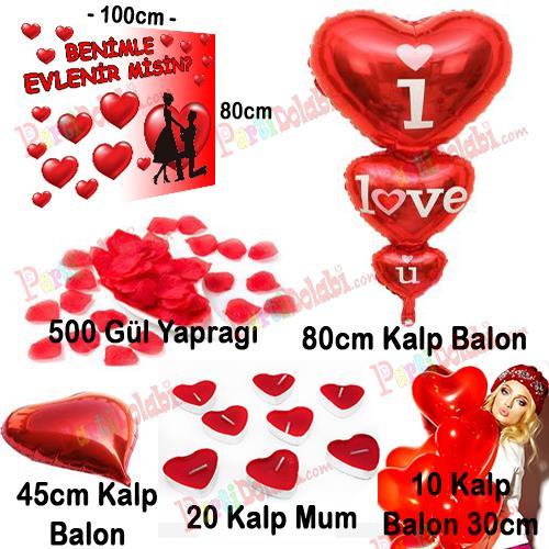 Evlilik Teklifi Pankart Afiş, Kalpli Balon, Mum, Gül Yaprağı