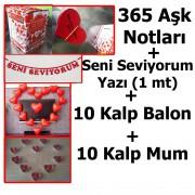 Evlilik Teklifi Sevgiliye 365 Aşk Notları, Kalp mum, balon + Yazı