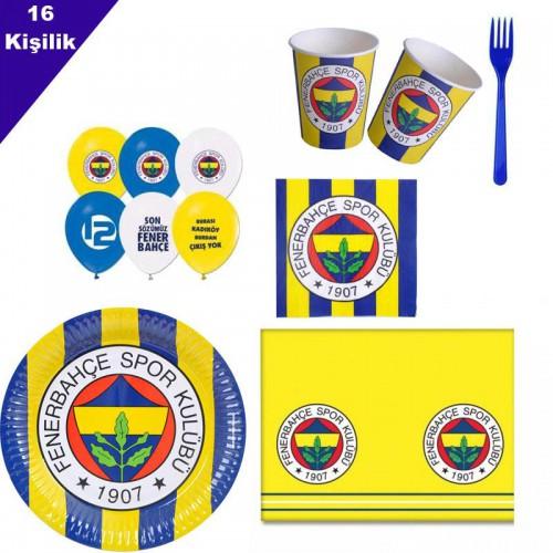 Fenerbahçe 16 Kişilik 8 Parça Doğum Günü Seti malzemeleri süsleri