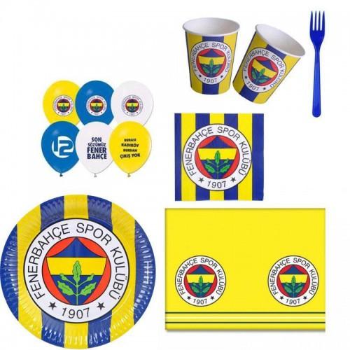 Fenerbahçe 8 Kişilik 6 Parça Doğum Günü Seti malzemeleri süsleri