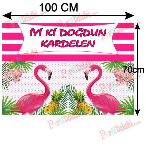 Flamingo Temalı Parti Afişi, Doğum Günü Konsepti Afiş