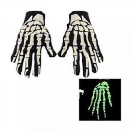 Fosforlu Kemik Desenli İskelet Eldiven Cadılar Bayramı Halloween