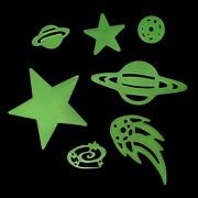 Fosforlu Yapışkanlı Yıldız Duvar Süsü, Gece Parlayan Sticker