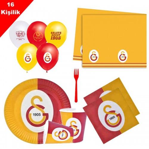 Galatasaray 16 Kişilik 8 Parça Doğum Günü Seti malzemeleri süsleri