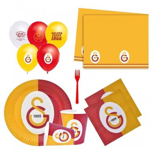 Galatasaray 24 Kişilik 12 Parça Doğum Günü Seti malzemeleri süsleri