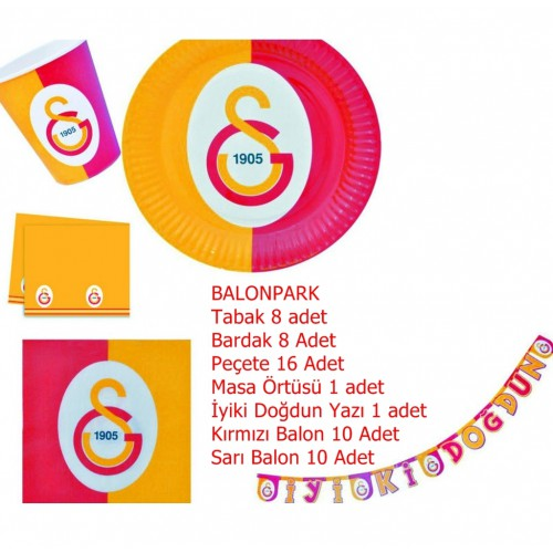 8 Kişilik Galatasaray Doğum Günü Konsepti Parti Malzemeleri Seti