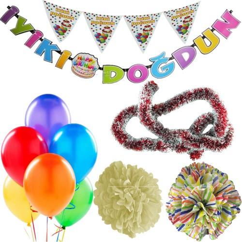 Gökkuşağı Erkek Çocuk Bebek Doğum Günü Parti Süsleri Malzeme Seti