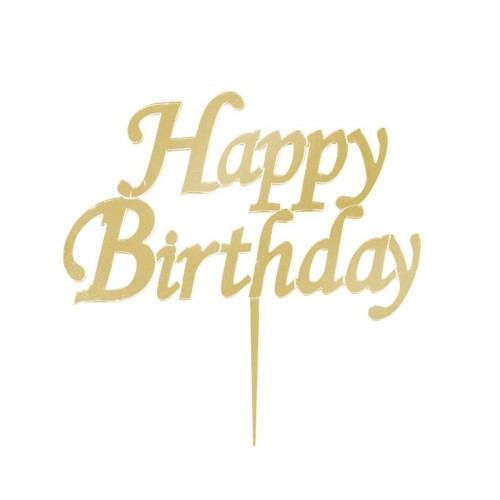 Gold Altın Rengi Happy Birthday Yazılı Ayna Pleksi Pasta Üstü Süsü