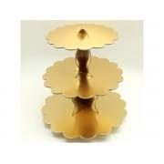 1 Adet Gold Dore Altın Sarısı 3 Katlı Cupcake Standı Kek Asansörü Parti