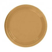 Gold Dore Altın Sarısı 8li Tabak Doğum Günü Karton Plastik 23cm