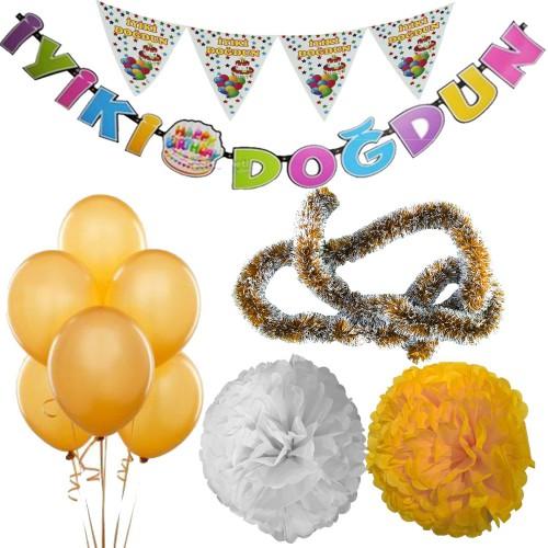 Gold Kız Çocuk (Bebek) Doğum Günü Parti Süsleri Malzeme Seti