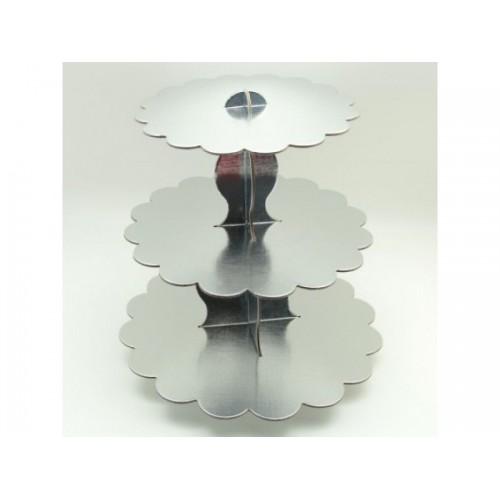 Gri Gümüş Lame 3 Katlı Cupcake Standı Kek Asansörü Parti Ucuz