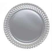 Gri Gümüş Lame 8li Tabak Doğum Günü Parti Karton Plastik 23cm
