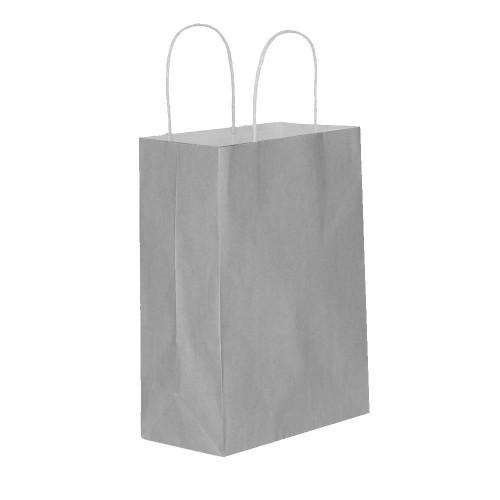 25 Adet Gümüş Gri Baskısız Hediyelik Kraft Kağıt İp Saplı Çanta