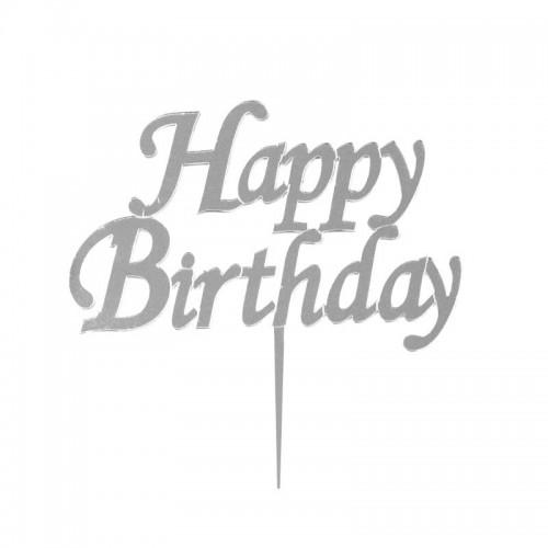 Gümüş Gri Happy Birthday Yazılı Ayna Pleksi, Pasta Üstü Süsü