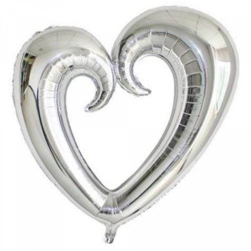 Gümüş Gri İçi Boş Kalp Şeklinde Folyo Balon, Kalpli Helyumla Uçan