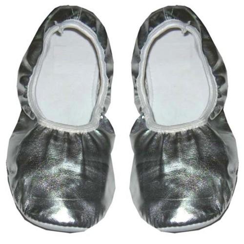 Gümüş Gri Pisi Pisi Bale Ayakkabısı, Balerin Gösteri Babeti