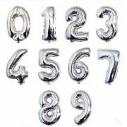 Gümüş Gri Renkli Rakam Folyo Büyük Balon Doğum Günü Helyumla Uçan