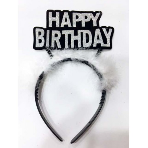 Gümüş Gri Simli Happy Birthday Yazılı Taç Doğum Günü Parti Tacı