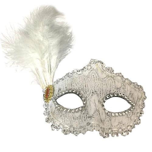 Beyaz Tüylü Kadın Parti Balo Göz Maskesi Dantelli, Venedik
