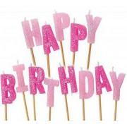 Happy Birthday Pembe Simli Şık Pasta Mumu