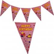Happy Birthday Yatay Yazı Flama Bayrak Pembe Süsleme Malzemeleri
