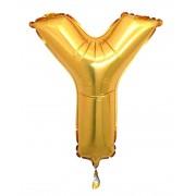 Harf Folyo Balon Y Harfi Büyük Boy Balon Altın Sarısı/Dore 100CM
