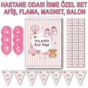 Kız Bebek Yenidoğan Hastane Odası Süsleri, Afiş Flama Magnet