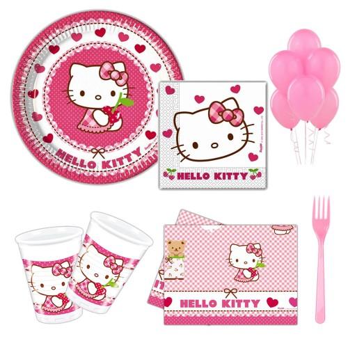 Hello Kitty 16 Kişilik 8 Parça Doğum Günü Seti malzemeleri