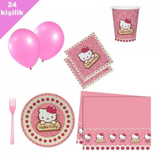Hello Kitty 24 Kişilik 12 Parça Doğum Günü Seti malzemeleri