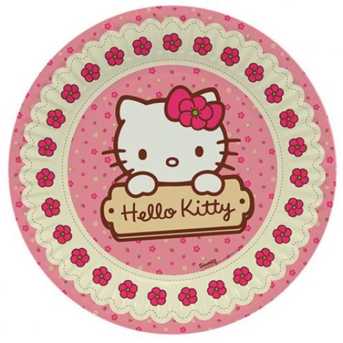 Hello Kitty 8li Tabak 23cm Doğum Günü Parti Tabağı