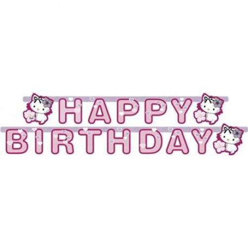Hello Kitty Happy Birthday Yazı Doğum Günü Parti Yazısı 2 metre