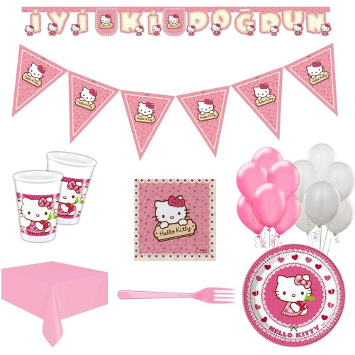 16 Kişi Hello Kitty Parti Malzeme Paketi Süsleme Konsept Seti