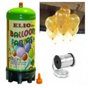 Helyum Gazı Tüp + 20 Ad Altın Sarısı Balon Metalik Uçan Balon+İpi