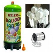 Helyum Gazı Tüp + 20 Ad Gümüş Grisi Balon Metalik Uçan Balon+İpi