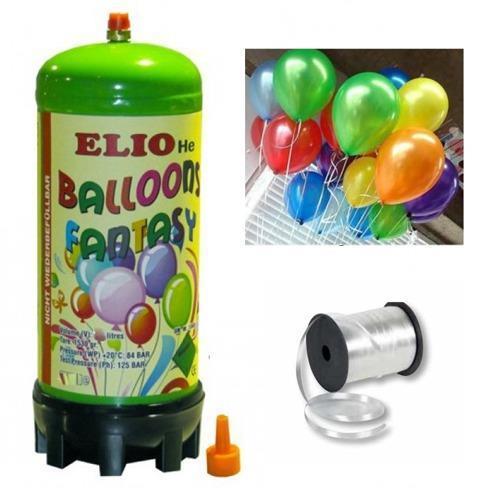 Helyum Gazı Tüp + 20 Ad Karışık Renk Balon Metalik Uçan Balon+İpi