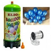Helyum Gazı Tüp + 20 Ad Koyu Mavi Balon Metalik Uçan Balon+İpi