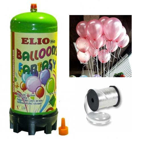 Helyum Gazı Tüp + 20 Ad Şeker Pembe Balon Metalik Uçan Balon+İpi