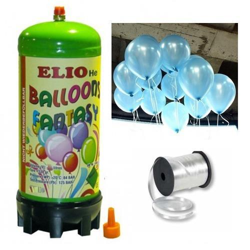 Helyum Gazı Tüp + 20 Adet Açık Mavi Metalik Uçan Balon + İpi