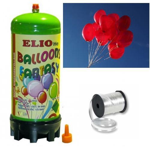 Helyum Gazı Tüp + 20 Adet Baskısız Kalp Uçan Balon + İpi