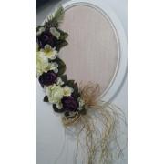 1 Adet Mor Beyaz Çiçekli Ahşap Doğum Odası Kapı Süsü