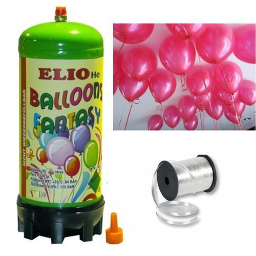 Helyum Gazı Tüp + 20 Adet Fuşya Balon Metalik Uçan Balon + İpi