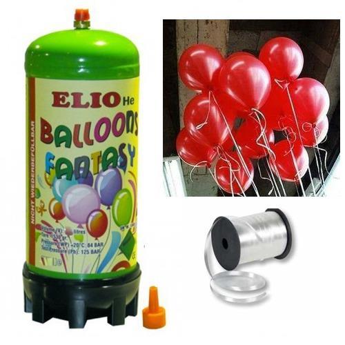 Helyum Gazı Tüp + 20 Adet Kırmızı Balon Metalik Uçan Balon + İpi